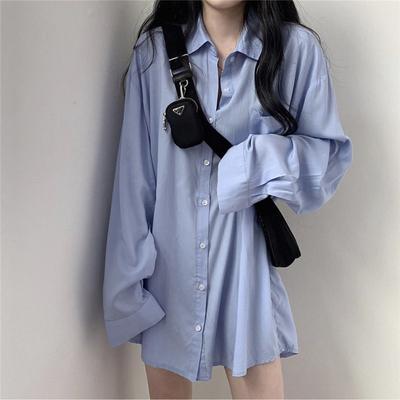 taobao agent Lazy wind white sunscreen shirt women summer early autumn thin mid-length drape shirt coat loose long-sleeved shirt