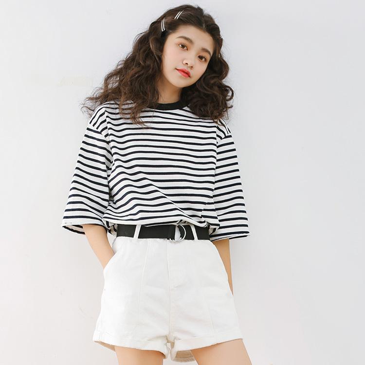 实拍韩版针织打底衫黑白横条纹短袖 女t恤短款修身显瘦1604A