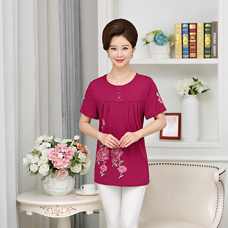 Phụ nữ trung niên của mùa hè ăn mặc cotton ngắn tay T-Shirt phương thức bông lỏng cộng với phân bón XL nửa tay áo sơ mi