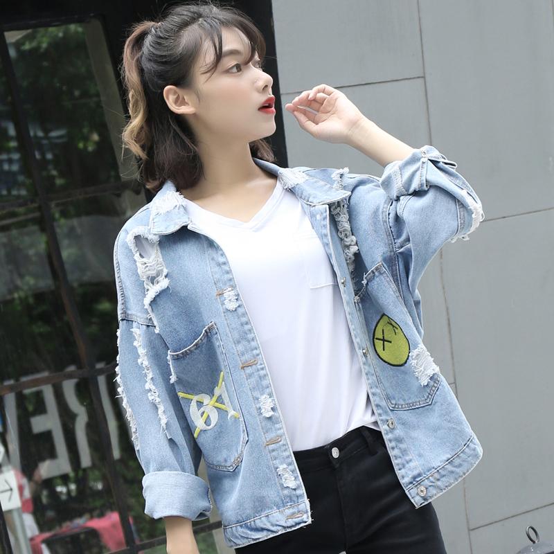 Mùa xuân và mùa thu mới của Hàn Quốc phiên bản của lỏng bf gió sinh viên áo sơ mi hoang dã ngắn thêu lỗ ánh sáng denim jacket nữ triều