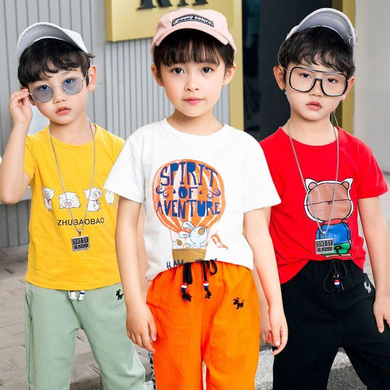 童装男童女童全棉夏季款套装2019新款中大童儿童运动短袖帅气韩版