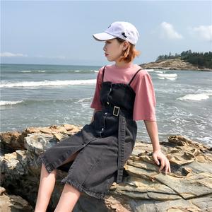 882#春装新款韩版宽松中长款背带裙 复古学生牛仔裙无袖连衣裙女