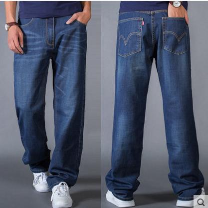 Mùa xuân và mùa hè quần rộng nam thẳng eo jeans lỏng rộng quần chân kích thước lớn chân dày phần mỏng triều chất béo