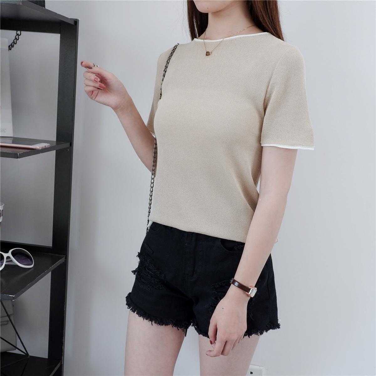 【实拍】8816新款复古百搭纯色针织衫简约修身圆领短袖T恤毛衣