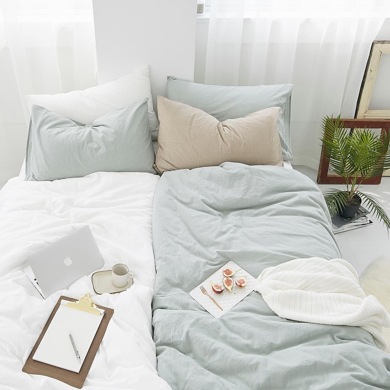 Nhật bản- phong cách màu rắn rửa bông bông bốn mảnh mùa xuân và mùa thu quilt cover tờ giường, cũng nhỏ nhà bông đơn giản giường