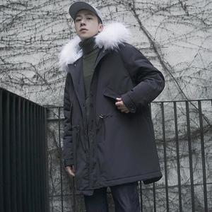 Mùa đông eo dây kéo cổ áo lông thú lớn dày ấm bông áo nam triều Hàn Quốc phiên bản của đội mũ trùm đầu dài bông áo khoác mùa đông áo