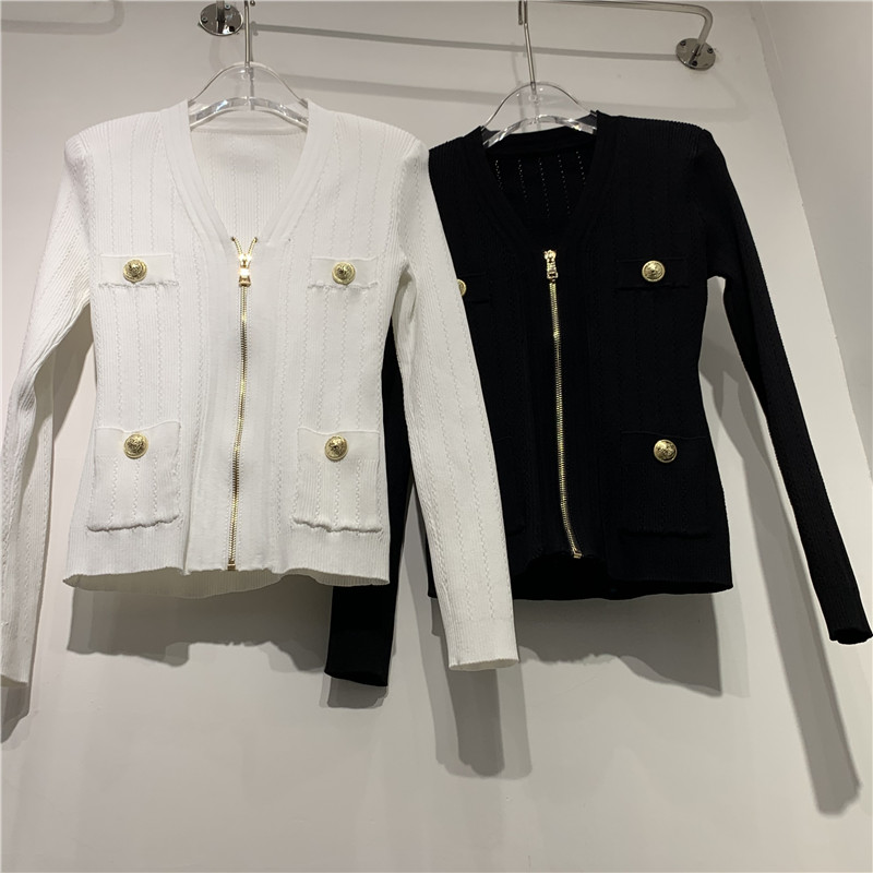 Spring new fashion simple metal button decoration slim V-neck zipper temperament knitted cardigan coat