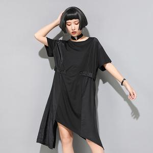 實拍1200#歐美夏季女裝連衣裙新款暗黑冷淡寬松不對稱中長連衣裙