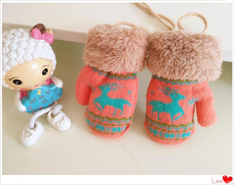 19新款冬季男童女童婴儿童连指挂绳双层加绒加厚保暖手套小童包套