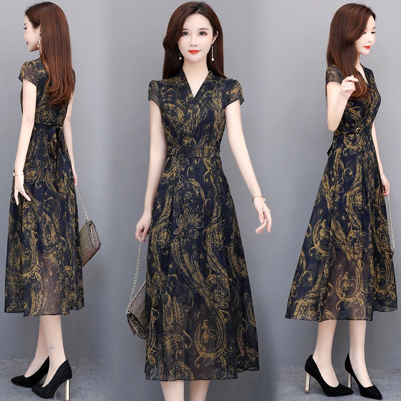 Váy đầm voan tay ngắn cho nữ rộng 2020 mới khí chất che bụng được in họa tiết cổ chữ V qua đầu gối dài nữ mùa hè - Sản phẩm HOT