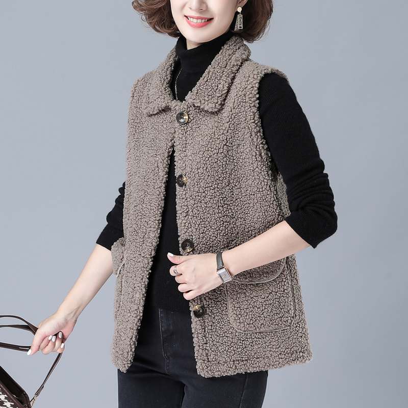 Middle aged and old womens autumn and winter waistcoat womens grain cashmere fur one-piece waistcoat mothers lamb hair coat womens coat