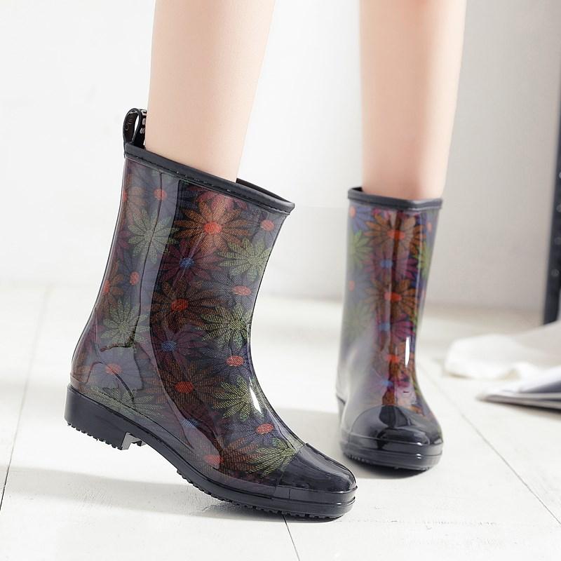 Giày đi mưa nữ mùa đông cộng với giày mưa nhung để giữ ấm và có thể tháo rời xu hướng thời trang dễ thương dành cho người lớn giày chống trượt ống vừa - Rainshoes