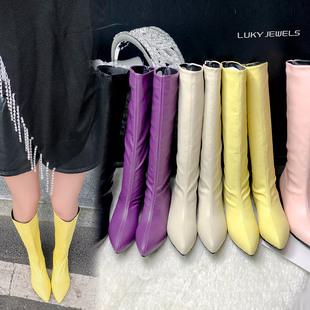 Чистый красный ins осень и зима короткая сопровождать наконечник высокий ботинок одиночный разряд ботинок кожа кремового цвета желтый фиолетовый модное платье ботинки рукав