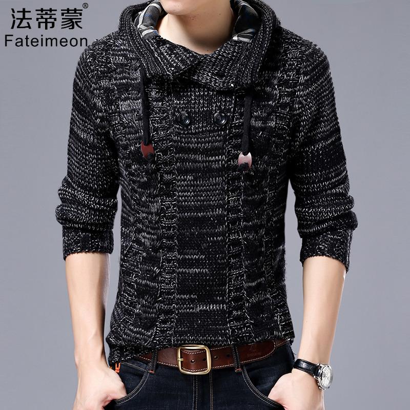 High collar sweater mens hooded Korean slim fitting Pullover winter sweater mens coat mens Plush thickening trend