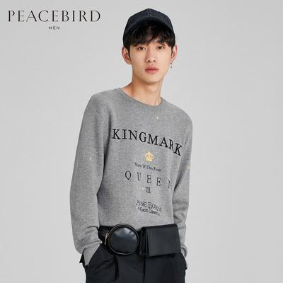 Áo len dệt kim nam mùa thu 2019 mùa thu mới áo len thêu màu xám Áo len dệt kim nam cổ tròn - Kéo qua