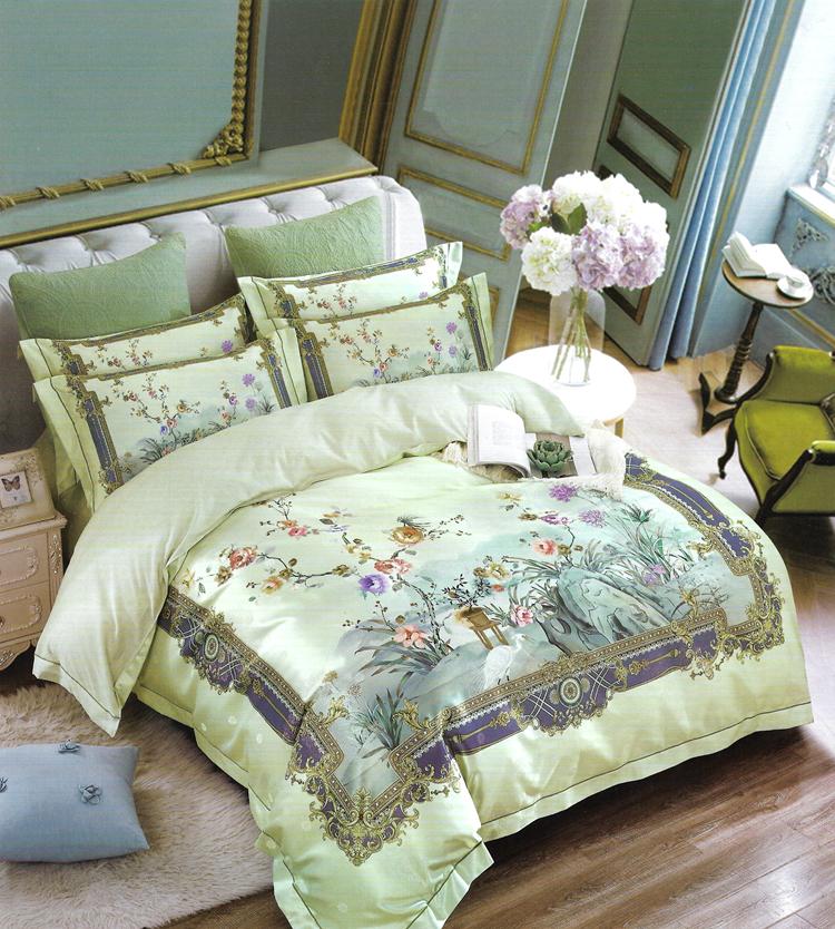 简森张家纺纯棉贡缎电脑提花宫廷绿四件套大床 1.8米 2.0 床品