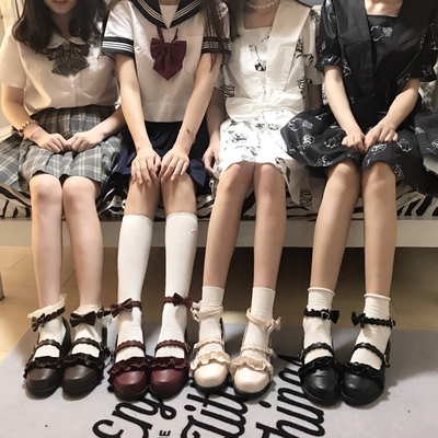 taobao agent 【Spot goods】Genuine Sheep Puffs Original Lolita Shoes Japanese Lace Round Toe Student Lolita Single Leather Shoes