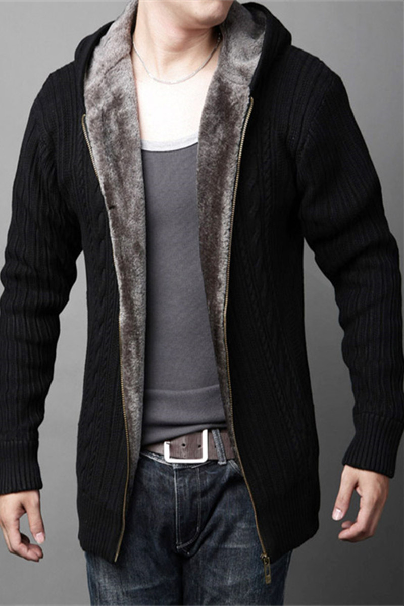 Sweater mens coat Korean high collar winter new knitted cardigan warm Plush thickened hooded mens fashion