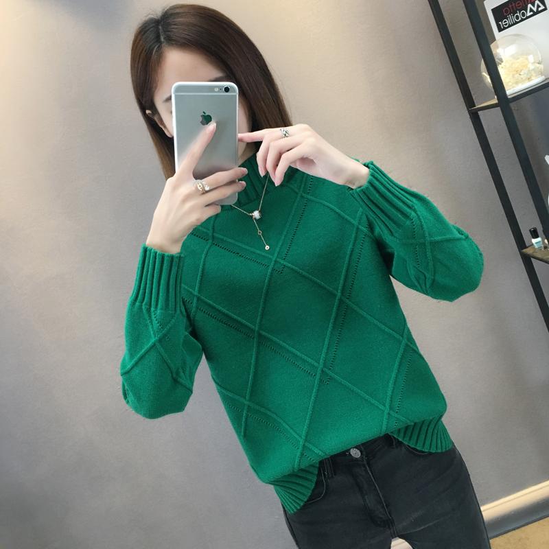 秋冬新款韩版女装菱形下摆开叉针织衫女长袖套头半高领毛衣女潮