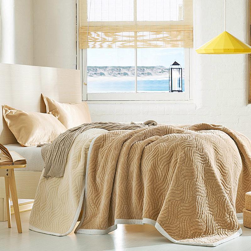 Mùa đông dày ba lớp chăn tổng hợp nhung chăn ấm chăn giản dị Falais duy nhất đôi chăn bìa