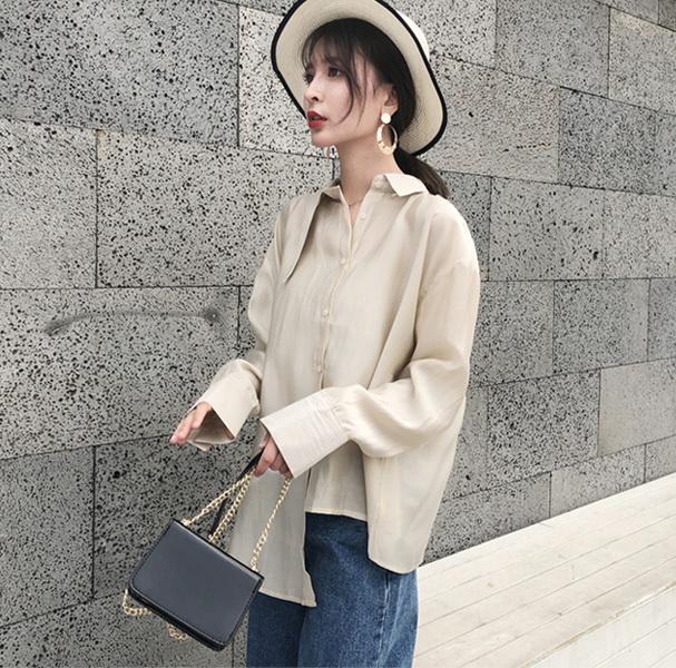 369#实拍2018春装新款小众不规则bf天丝棉衬衫女长袖宽松显瘦上衣