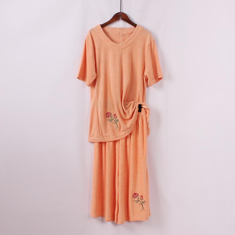Lỏng kích thước lớn ngắn- tay áo + bảy- điểm rộng- chân quần hai mảnh mùa hè mới thời trang giản dị thể thao phù hợp với phụ nữ