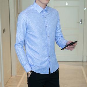 店主风男士尊蓝风英伦印花休闲衬衫韩版修身长袖衬衣B262-C81-P25