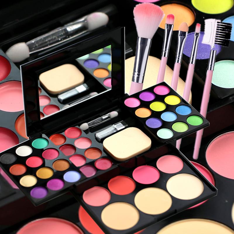 Trang điểm mỹ phẩm set makeup brush set cọ trang điểm hộp bột trang điểm đĩa trẻ em hiển thị cô gái mặt mini bộ