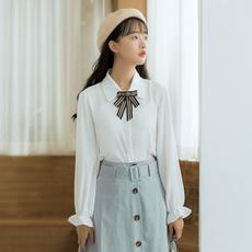 【6230#】现货学院风翻领长袖衬衫雪纺衫新款秋冬装系