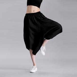 实拍8667#欧韩女裤夏季新款休闲裤不规则宽松大码女装棉麻哈伦裤