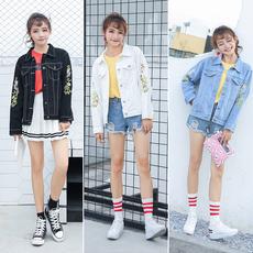 浅色牛仔外套女宽松 bf 短款刺绣花朵百搭 韩版修身显瘦新款上衣