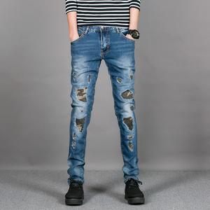 2017春 青年破洞水洗磨旧牛仔裤小脚裤弹力迷彩补丁长裤 A830-P95