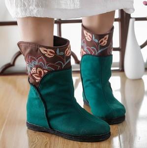 Giày thêu dân tộc Retro, hàng ngàn lớp giầy ủng, ủng cũ của Bắc Kinh, giày cao gót nữ, giầy ủng mùa xuân và mùa thu, ủng bông