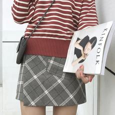 (现货)3049【模特实拍】高腰格子开叉A字口袋不规则半身裙女