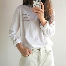 2216#韩国 春款  圆领字母印花宽松上衣 百搭休闲长袖T恤 现货