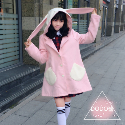 taobao agent Funny sauce original autumn and winter Japanese college sweet and soft girl Lolita rabbit ears breasted woolen cloak coat coat