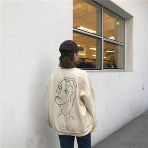 实拍 韩国简约抽象人像图案印花复古宽松加厚圆领套头卫衣