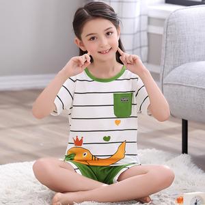 女童睡衣夏季純棉兒童家居服夏天空調服薄款大童小孩寶寶短袖套裝