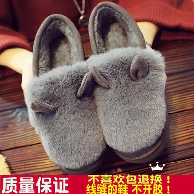 秋冬季加绒豆豆鞋女韩版平底女鞋防滑赖人瓢鞋毛毛鞋保暖棉鞋学生