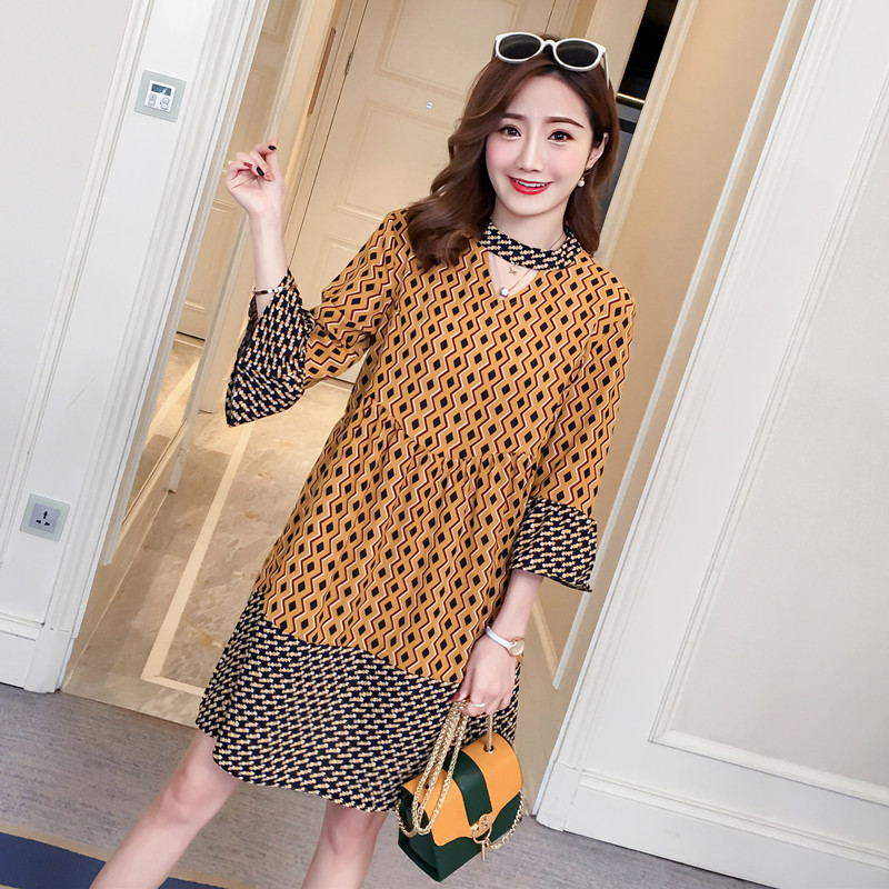 6c9ab275399f New Loose Fashion Printed Horn Sleeves Pregnant Women Dress
