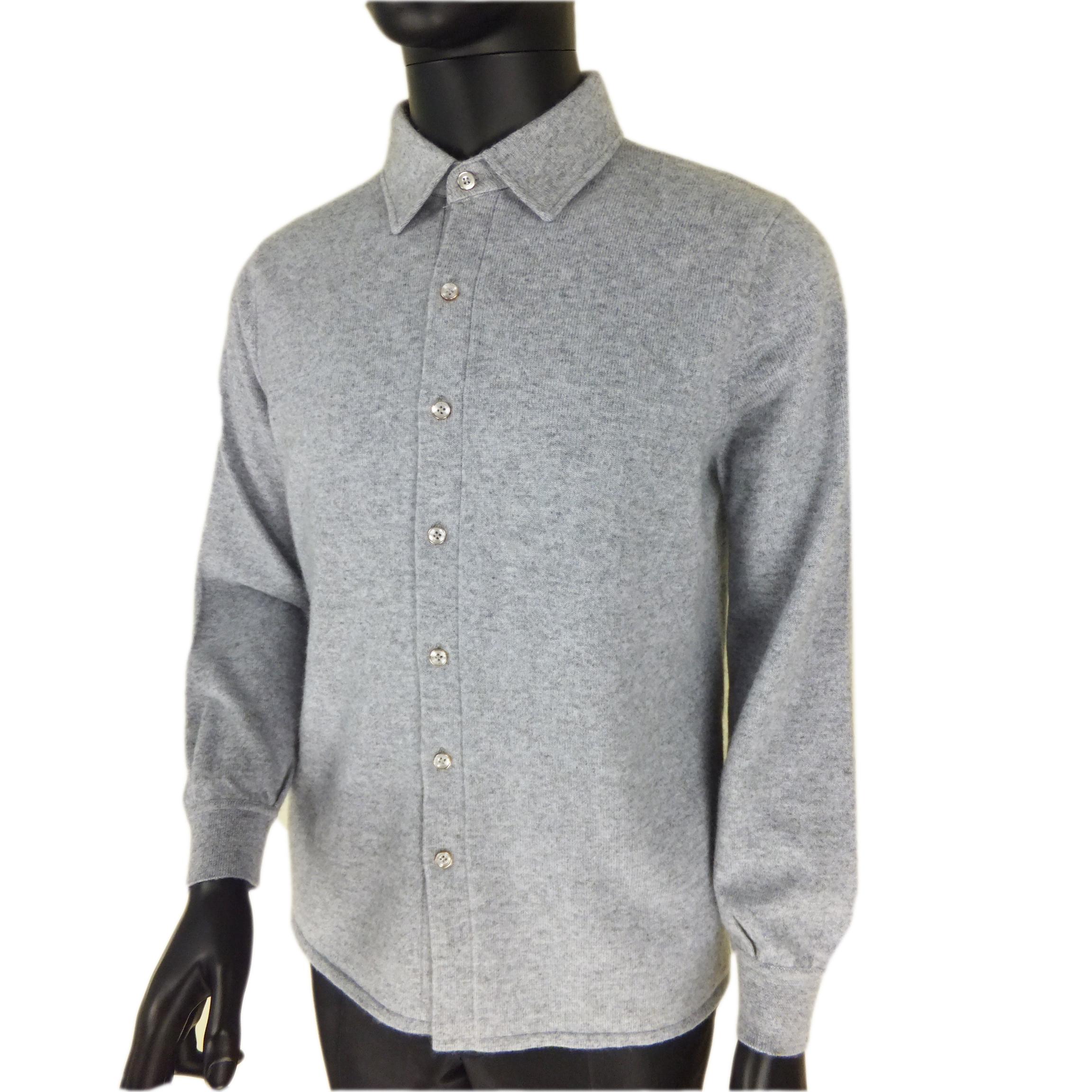 Mùa thu mới trung niên tinh khiết cashmere áo sơ mi nam dài tay Slim len cardigan của nam giới kinh doanh miễn phí hot Nội Mông Cổ