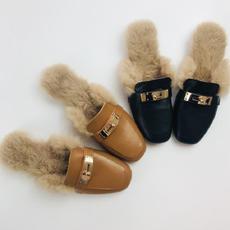 2017秋冬新款真皮女拖鞋头层牛皮低跟羊毛