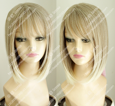 taobao agent Bobo women's wig, gray and gold highlights, oblique bangs, fluffy face closing, European and American soft girl business ol short hair