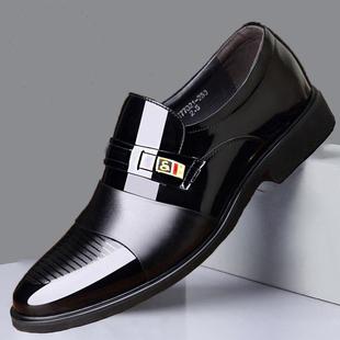 新款男士皮鞋男真皮透气商务正装皮鞋男休闲鞋真皮套脚上班鞋