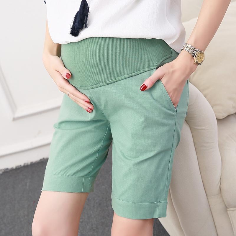 2018 mùa hè quần short thai sản mặc lỏng cotton linen năm quần kích thước lớn phụ nữ mang thai dạ dày lift quần đáy quần