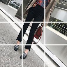 杨幂明星机场街拍同款牛仔裤不规则毛边九分微喇叭裤