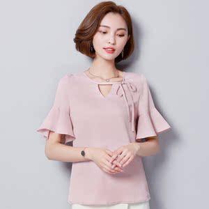 919#实拍2018夏装新款系带蝴蝶结雪纺衫喇叭袖纯色小衫衫上衣女