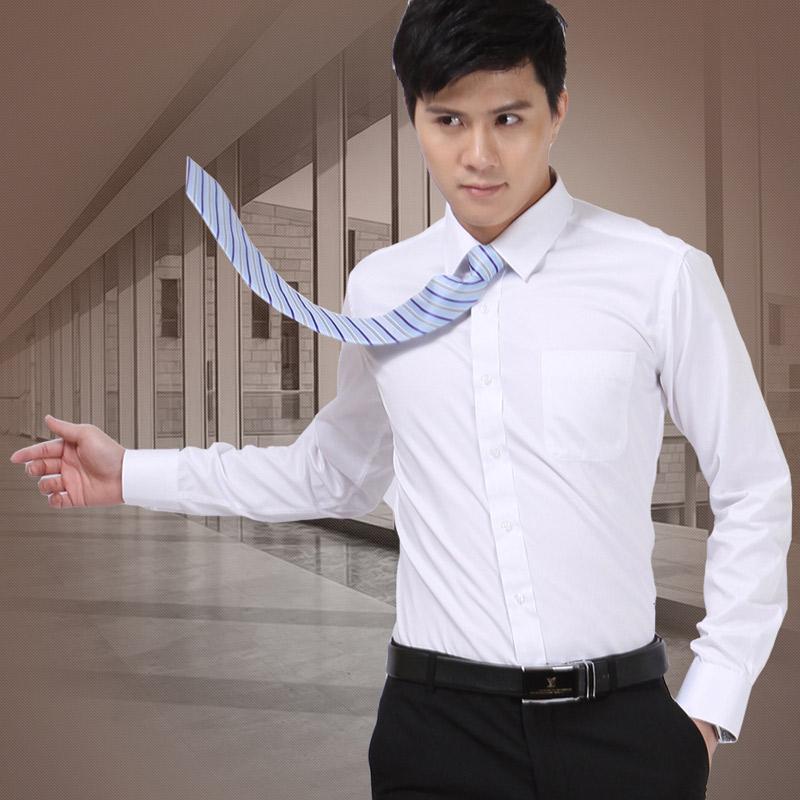 春季白衬衫男长袖商务职业修身正装上班工作新郎伴郎西装衬衣男寸