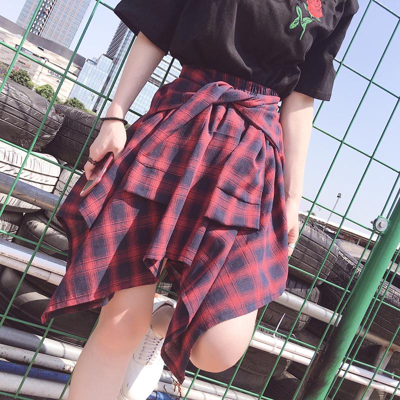 女装不规则百搭格子短裙防走光裤<font color='red'><b>裙子</b></font>