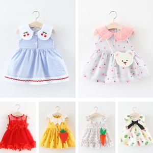 Cô gái ăn mặc mùa hè 2018 Hàn Quốc phiên bản của dây đeo công chúa váy nữ bé 3 tuổi trẻ sơ sinh 0-1 tuổi quần áo trẻ em